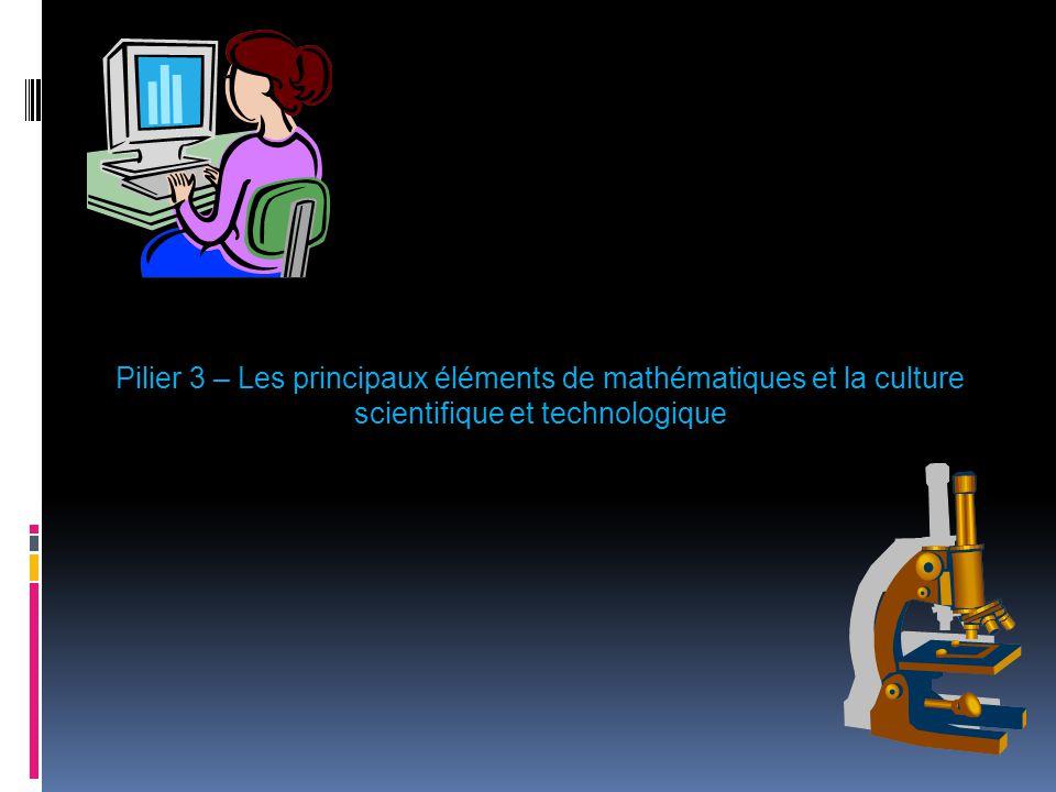 Pilier 3 – Les principaux éléments de mathématiques et la culture scientifique et technologique
