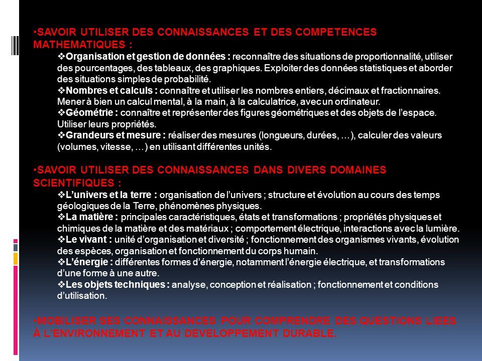 SAVOIR UTILISER DES CONNAISSANCES ET DES COMPETENCES MATHEMATIQUES : Organisation et gestion de données : reconnaître des situations de proportionnali