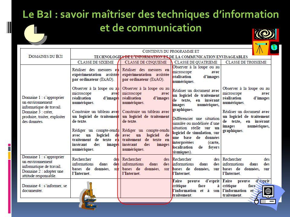 Le B2I : savoir maîtriser des techniques dinformation et de communication
