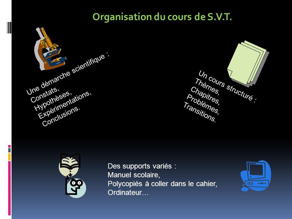 Organisation du cours de S.V.T.