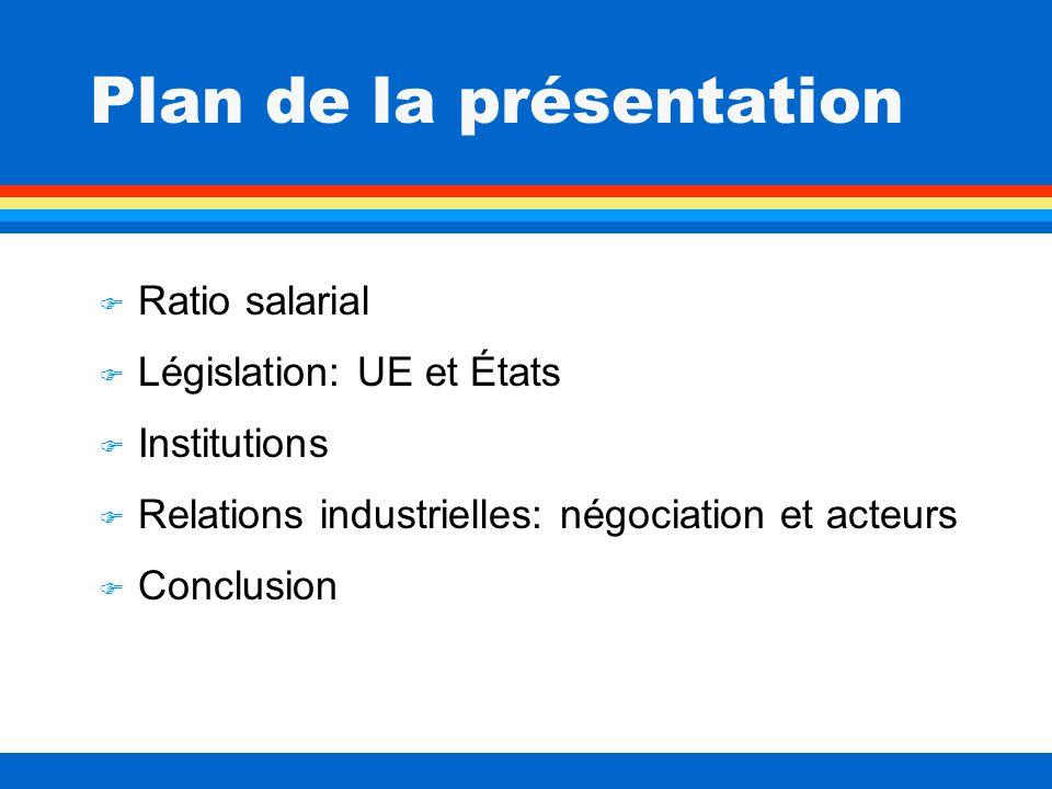 Plan de la présentation F Ratio salarial F Législation: UE et États F Institutions F Relations industrielles: négociation et acteurs Conclusion
