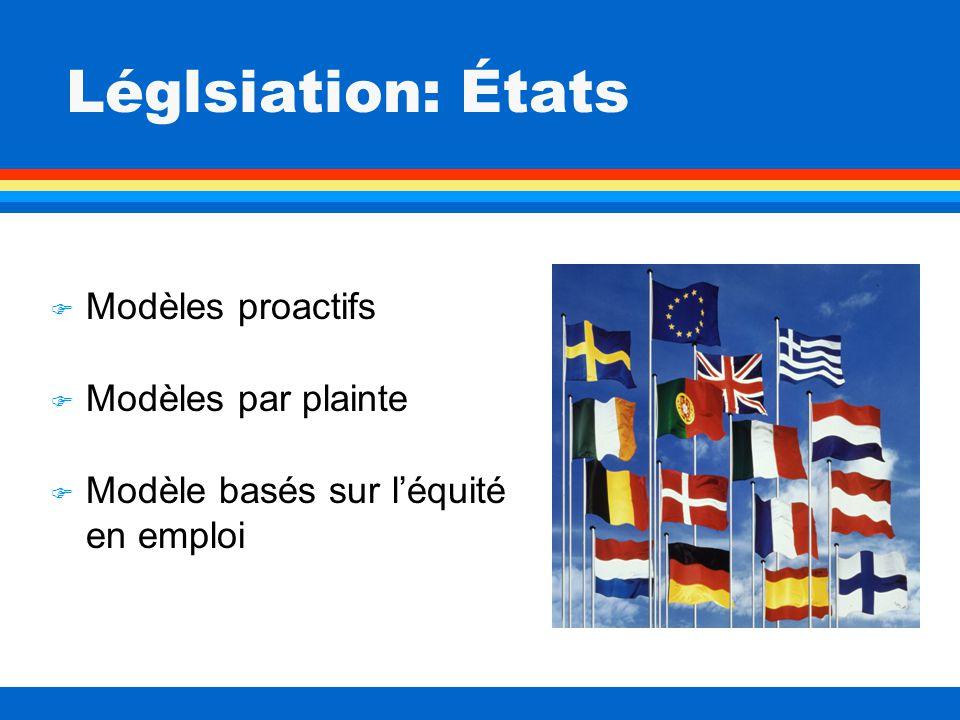 Léglsiation: États F Modèles proactifs F Modèles par plainte F Modèle basés sur léquité en emploi