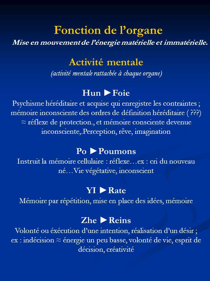 Fonction de lorgane Mise en mouvement de lénergie matérielle et immatérielle. Activité mentale (activité mentale rattachée à chaque organe) Hun Foie P