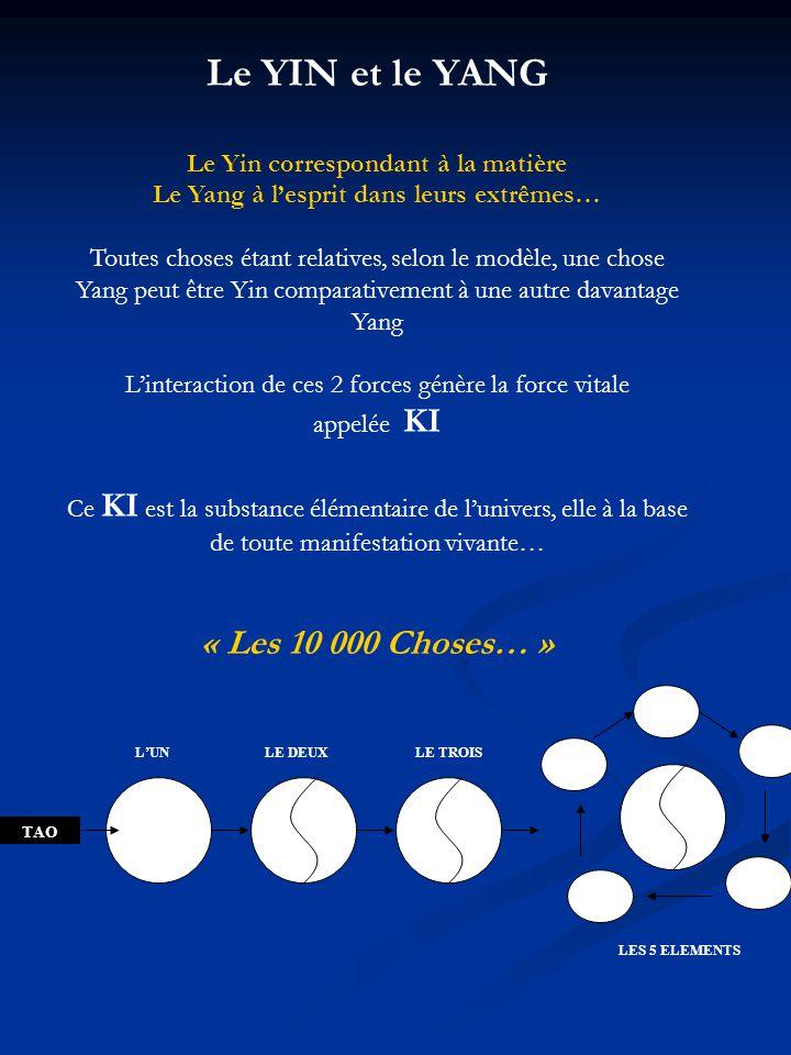 Le YIN et le YANG Le Yin correspondant à la matière Le Yang à lesprit dans leurs extrêmes… Toutes choses étant relatives, selon le modèle, une chose Y