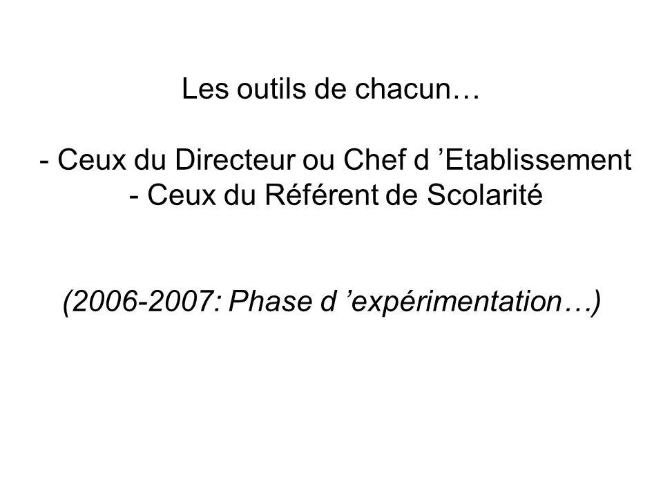 Les outils de chacun… - Ceux du Directeur ou Chef d Etablissement - Ceux du Référent de Scolarité (2006-2007: Phase d expérimentation…)