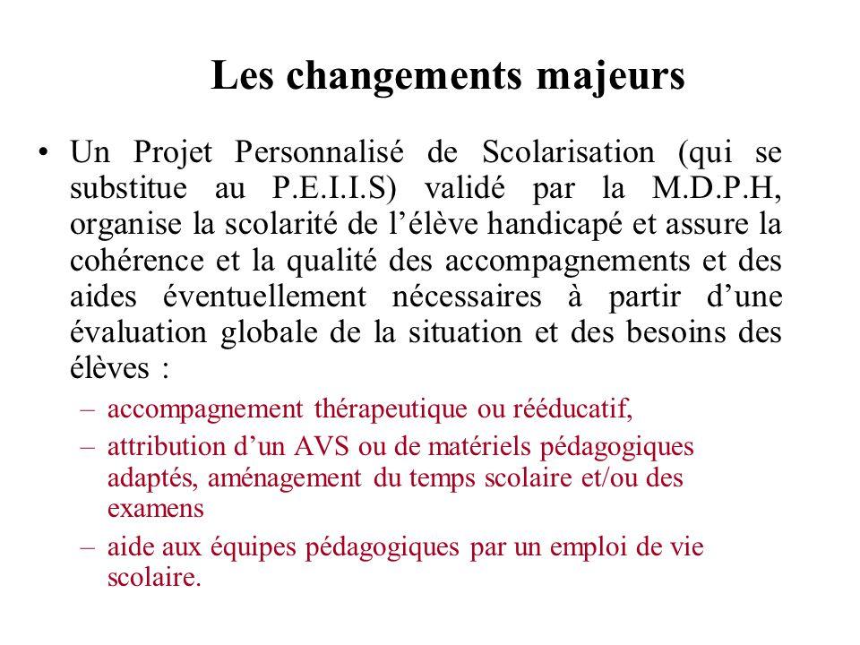Les changements majeurs Un Projet Personnalisé de Scolarisation (qui se substitue au P.E.I.I.S) validé par la M.D.P.H, organise la scolarité de lélève