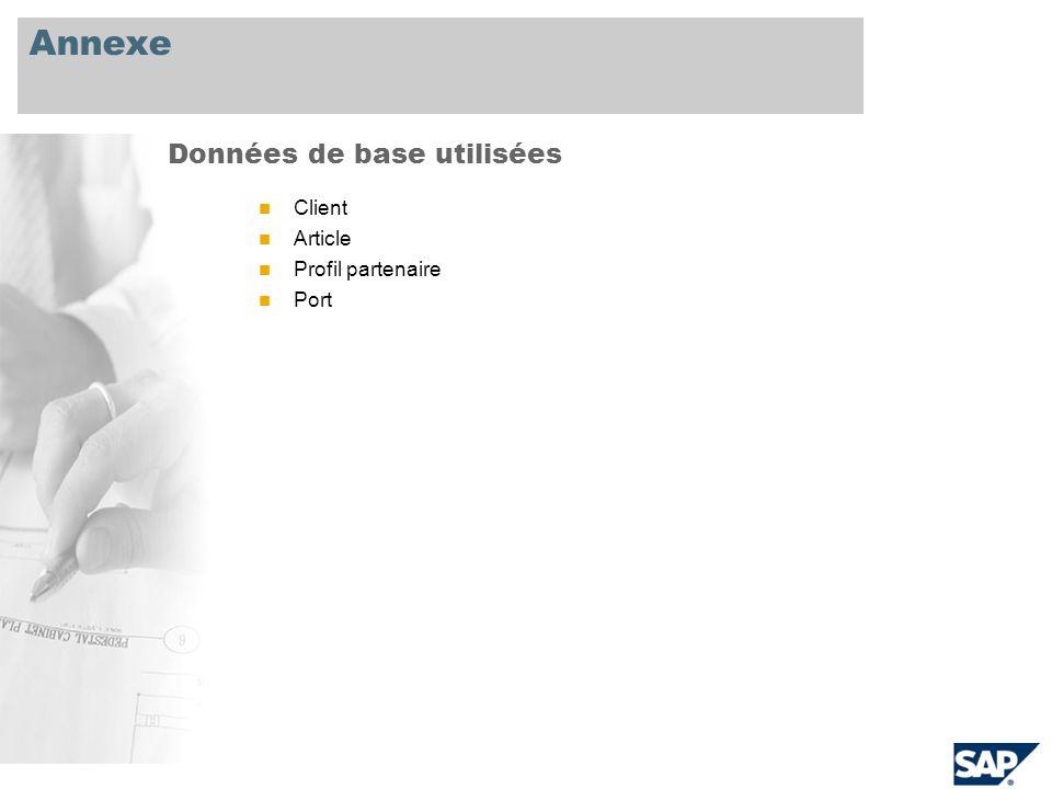 Annexe Client Article Profil partenaire Port Données de base utilisées