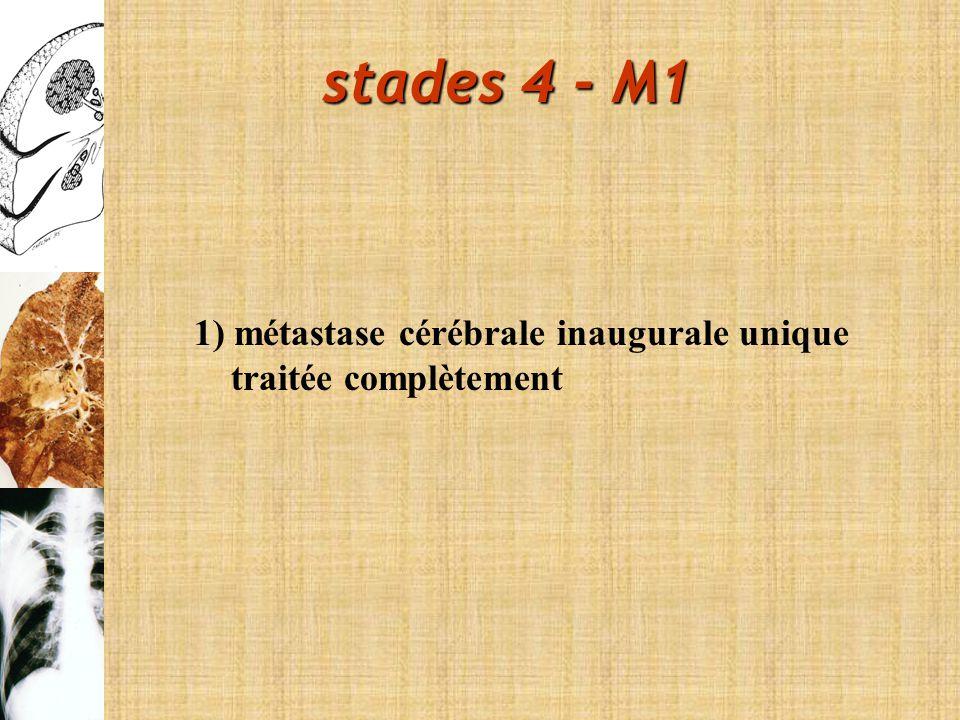stades 4 - M1 1) métastase cérébrale inaugurale unique traitée complètement