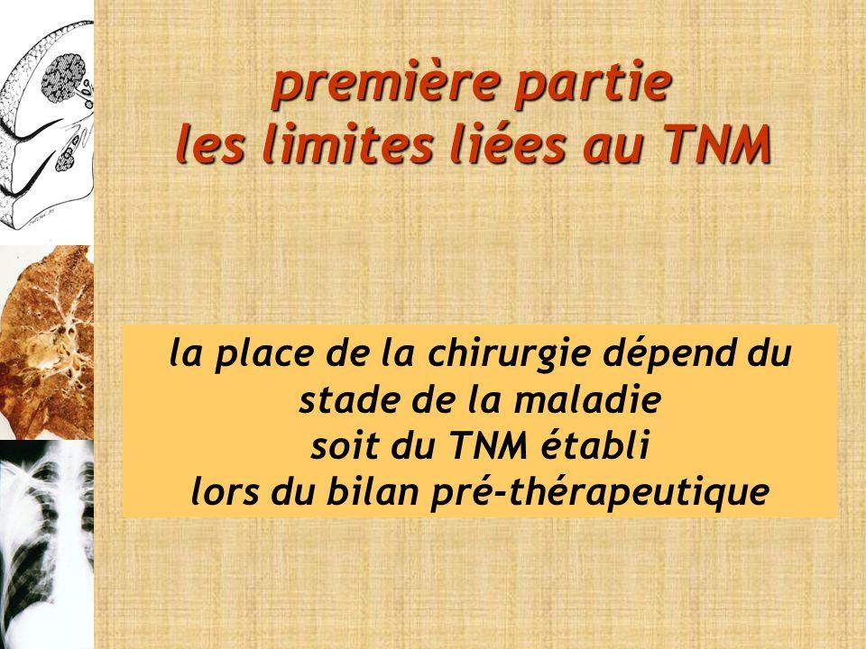 la place de la chirurgie dépend du stade de la maladie soit du TNM établi lors du bilan pré-thérapeutique première partie les limites liées au TNM