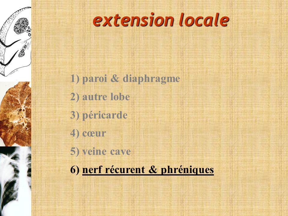 1) paroi & diaphragme 2) autre lobe 3) péricarde 4) cœur 5) veine cave 6) nerf récurent & phréniques extension locale