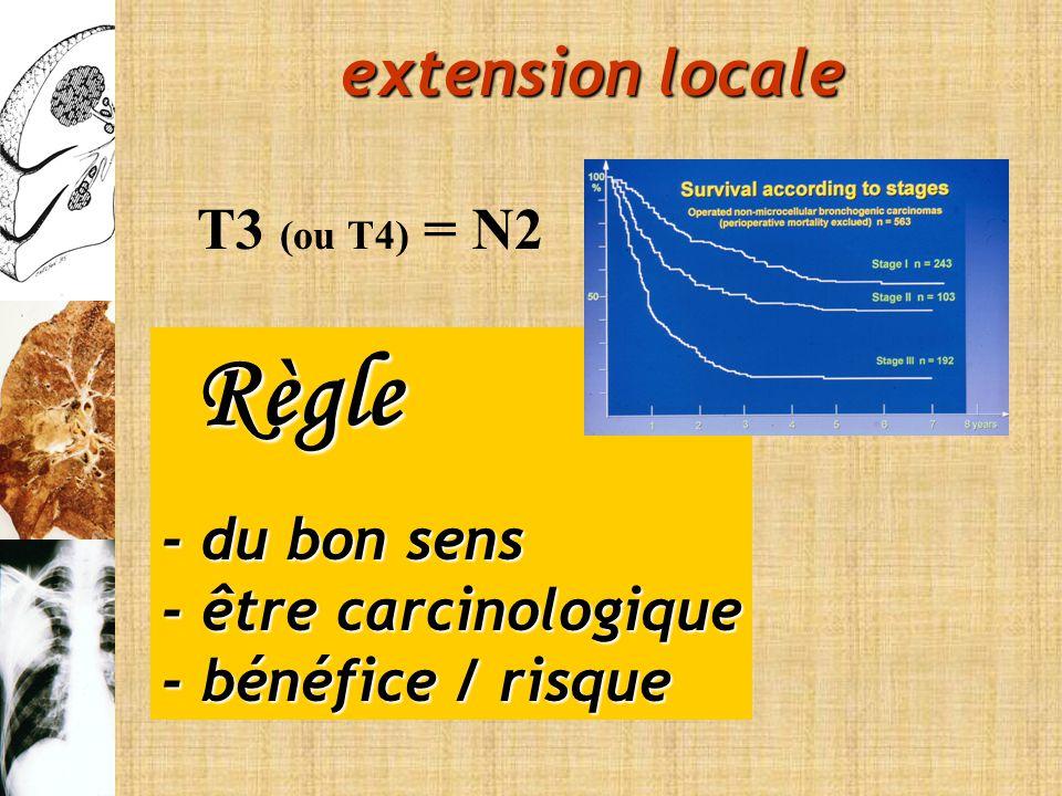 Règle Règle - du bon sens - être carcinologique - bénéfice / risque T3 (ou T4) = N2 extension locale