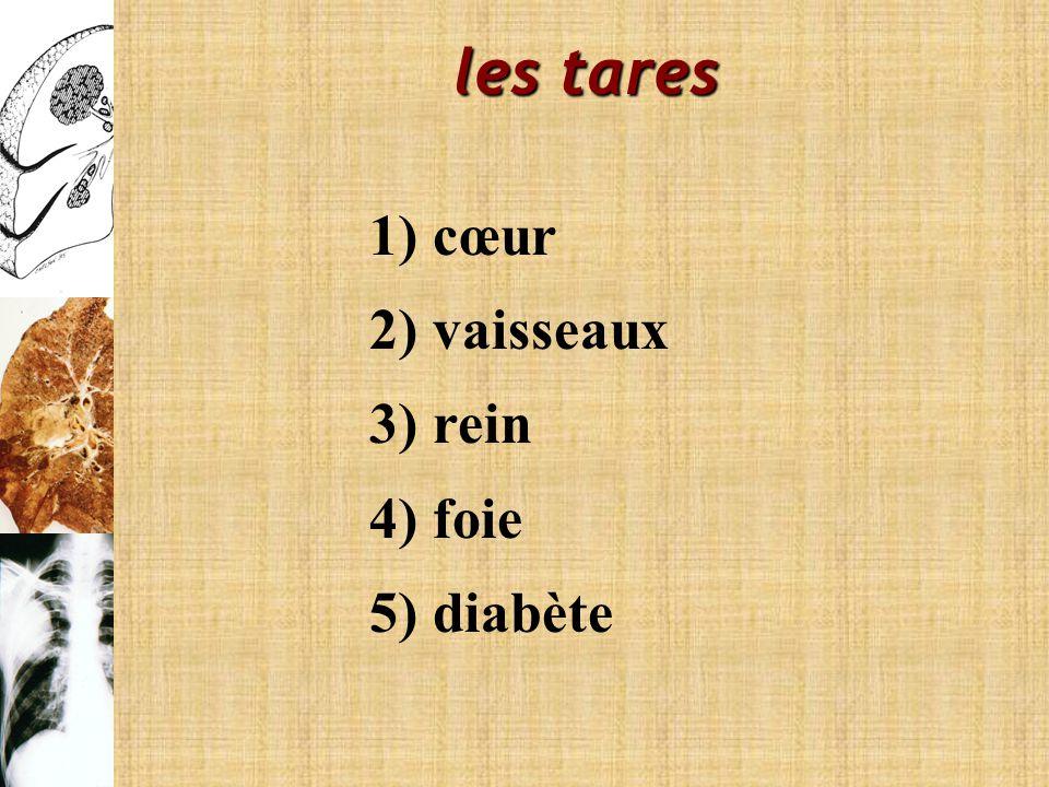 les tares 1) cœur 2) vaisseaux 3) rein 4) foie 5) diabète