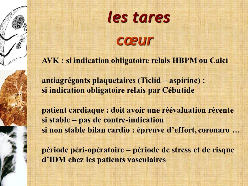 les tares cœur AVK : si indication obligatoire relais HBPM ou Calci antiagrégants plaquetaires (Ticlid – aspirine) : si indication obligatoire relais