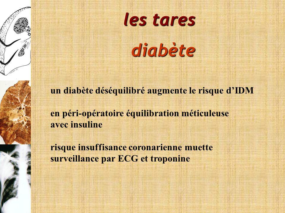 les tares diabète un diabète déséquilibré augmente le risque dIDM en péri-opératoire équilibration méticuleuse avec insuline risque insuffisance coron