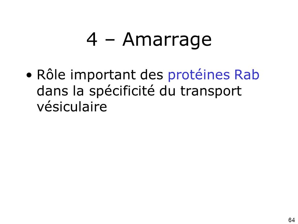 64 4 – Amarrage Rôle important des protéines Rab dans la spécificité du transport vésiculaire