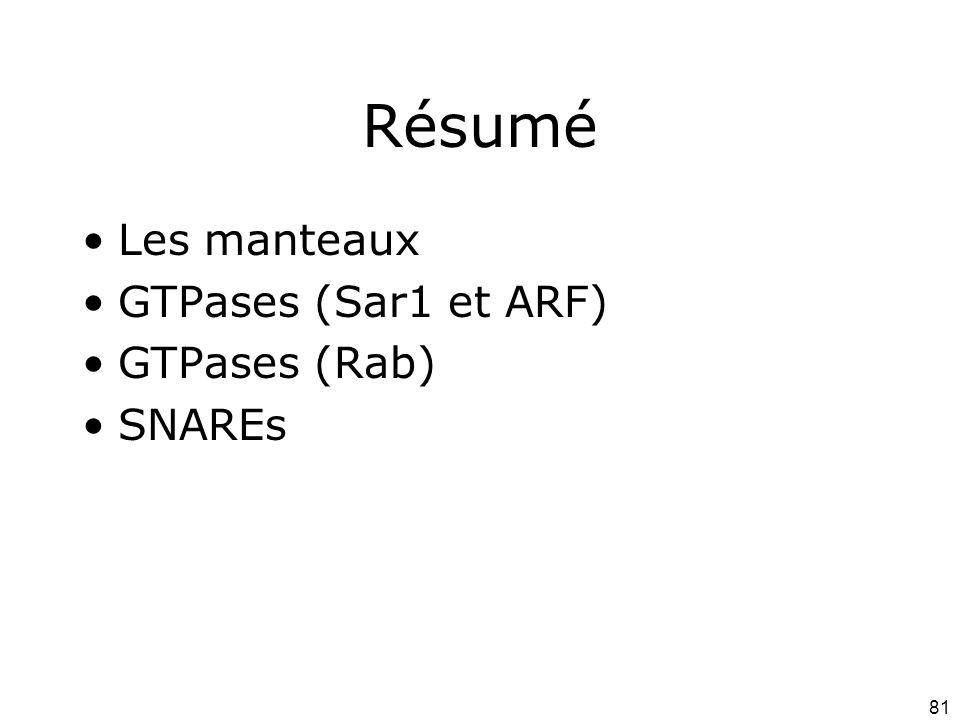81 Résumé Les manteaux GTPases (Sar1 et ARF) GTPases (Rab) SNAREs