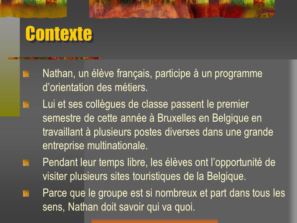 Contexte Nathan, un élève français, participe à un programme dorientation des métiers. Lui et ses collègues de classe passent le premier semestre de c