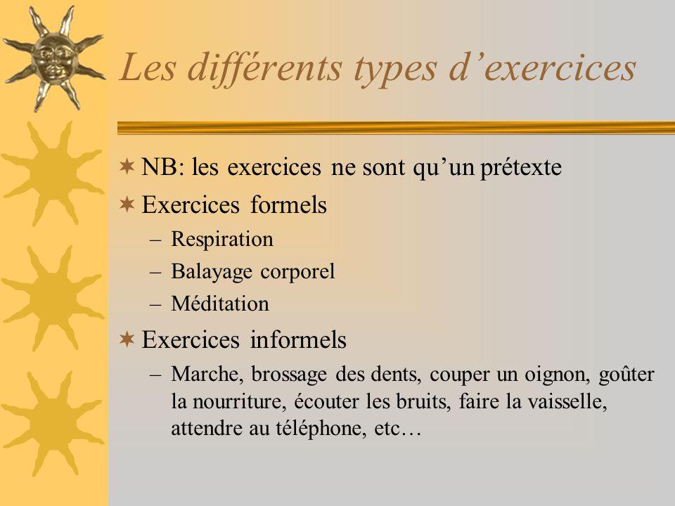 Les différents types dexercices NB: les exercices ne sont quun prétexte Exercices formels –Respiration –Balayage corporel –Méditation Exercices inform