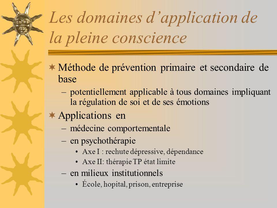 Les domaines dapplication de la pleine conscience Méthode de prévention primaire et secondaire de base –potentiellement applicable à tous domaines imp