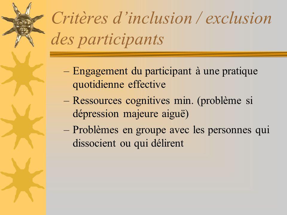 Critères dinclusion / exclusion des participants –Engagement du participant à une pratique quotidienne effective –Ressources cognitives min. (problème