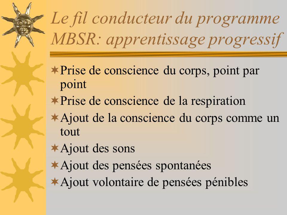 Le fil conducteur du programme MBSR: apprentissage progressif Prise de conscience du corps, point par point Prise de conscience de la respiration Ajou