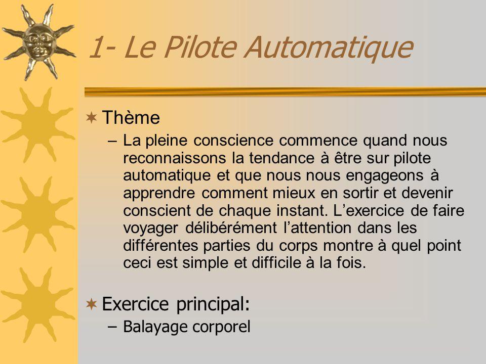 1- Le Pilote Automatique Thème –La pleine conscience commence quand nous reconnaissons la tendance à être sur pilote automatique et que nous nous enga