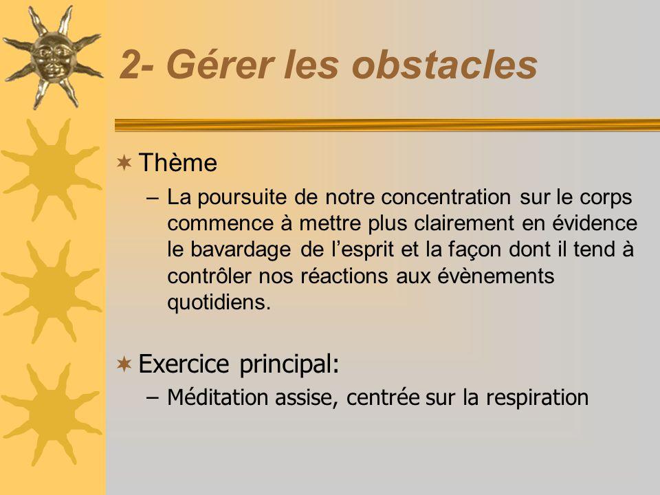 2- Gérer les obstacles Thème –La poursuite de notre concentration sur le corps commence à mettre plus clairement en évidence le bavardage de lesprit e