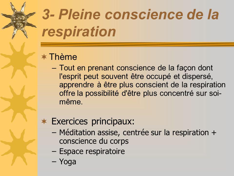 3- Pleine conscience de la respiration Thème –Tout en prenant conscience de la façon dont l'esprit peut souvent être occupé et dispersé, apprendre à ê