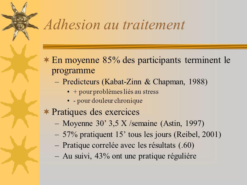 Adhesion au traitement En moyenne 85% des participants terminent le programme –Predicteurs (Kabat-Zinn & Chapman, 1988) + pour problèmes liés au stres