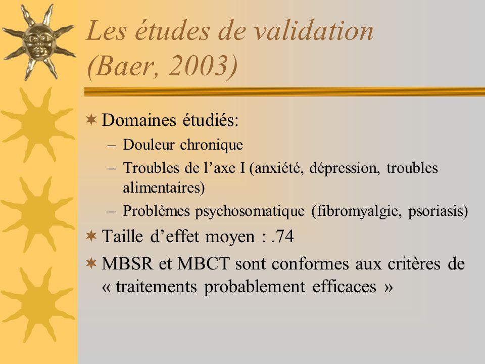 Les études de validation (Baer, 2003) Domaines étudiés: –Douleur chronique –Troubles de laxe I (anxiété, dépression, troubles alimentaires) –Problèmes