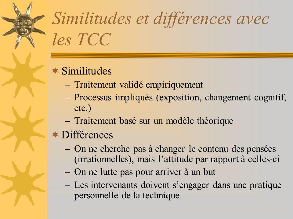 Similitudes et différences avec les TCC Similitudes –Traitement validé empiriquement –Processus impliqués (exposition, changement cognitif, etc.) –Tra