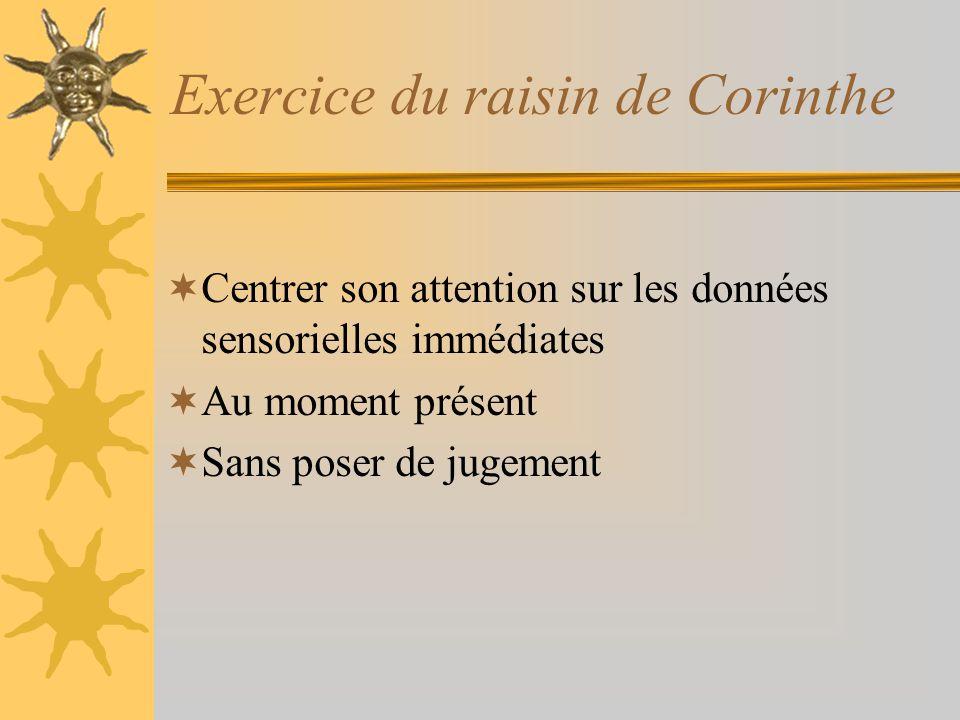 Exercice du raisin de Corinthe Centrer son attention sur les données sensorielles immédiates Au moment présent Sans poser de jugement