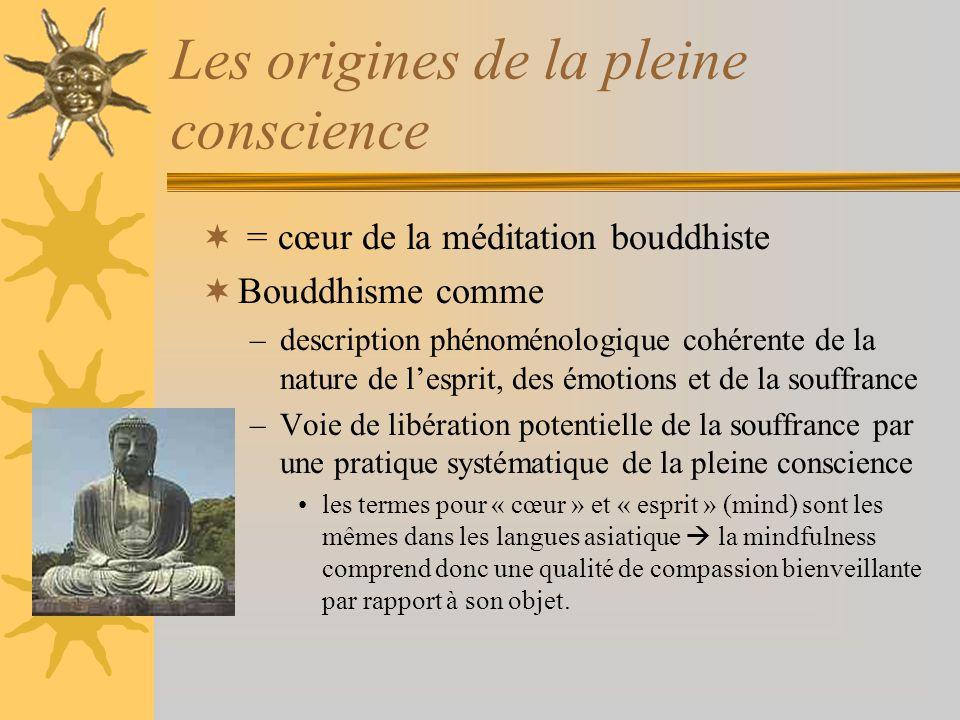 Introduction de la mindfulness dans lintervention psychologique Jon Kabat-Zinn (1982): –Développement du « Mindfulness based stress reduction program » (MBSR).