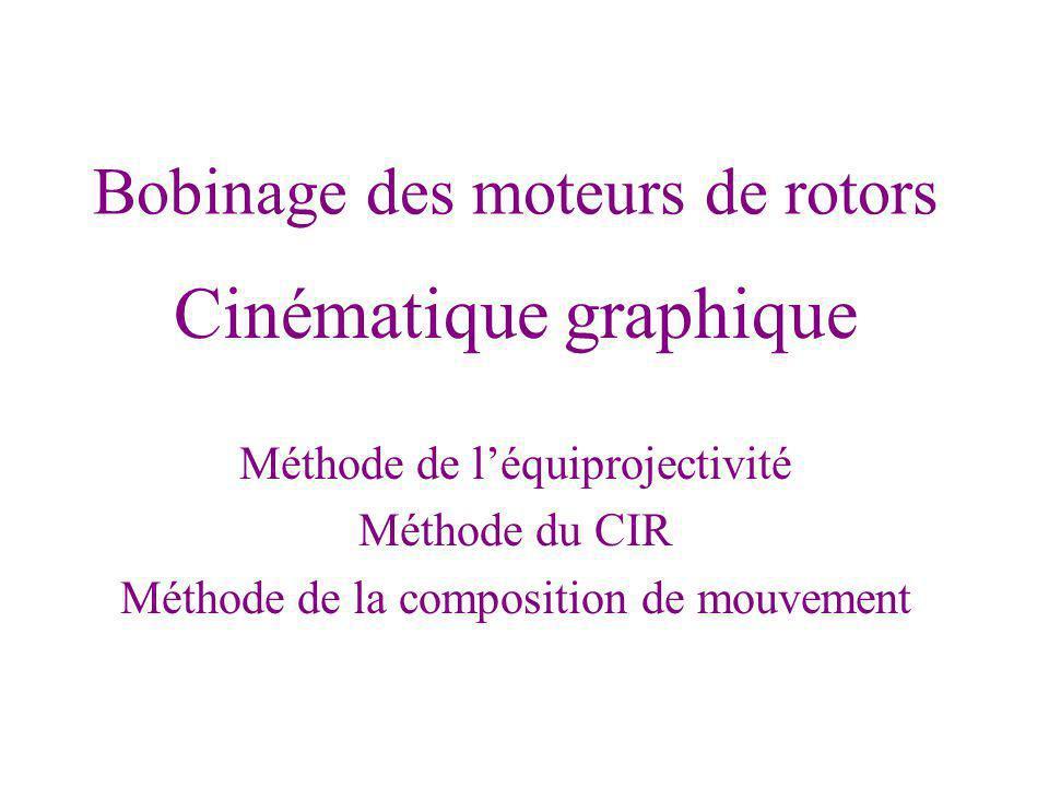 Bobinage des moteurs de rotors Cinématique graphique Méthode de léquiprojectivité Méthode du CIR Méthode de la composition de mouvement