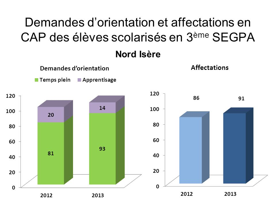 Demandes dorientation et affectations en CAP des élèves scolarisés en 3 ème SEGPA Nord Isère