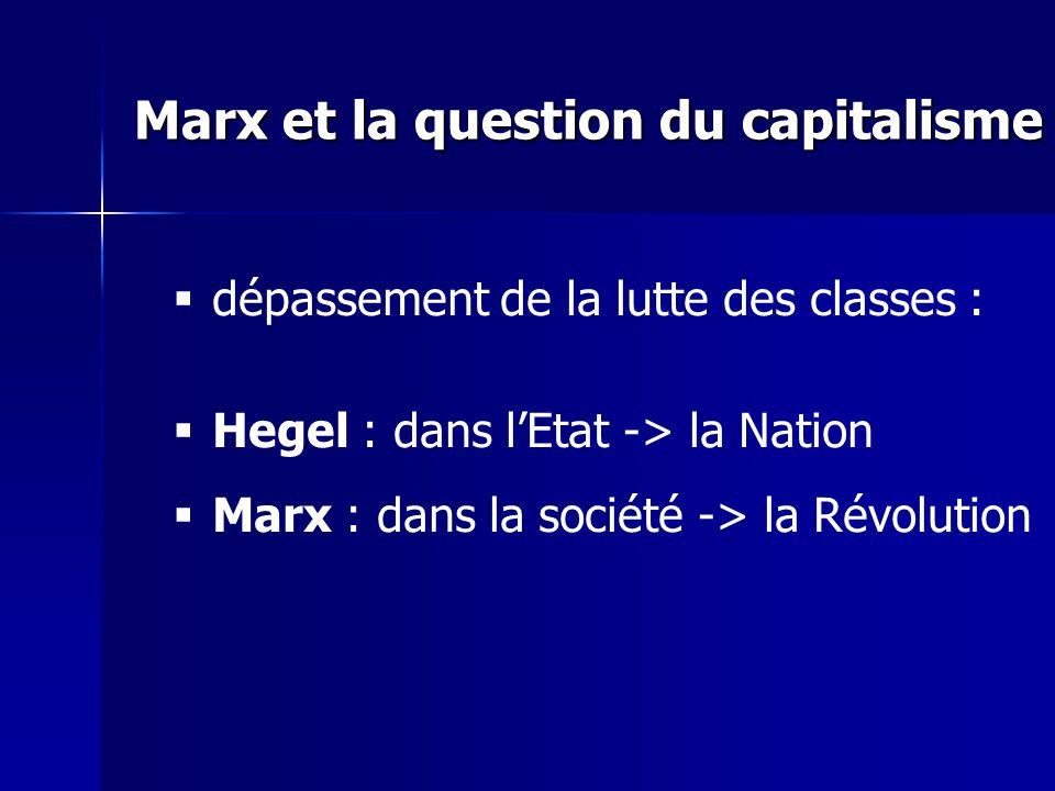 dépassement de la lutte des classes : Hegel : dans lEtat -> la Nation Marx : dans la société -> la Révolution Marx et la question du capitalisme