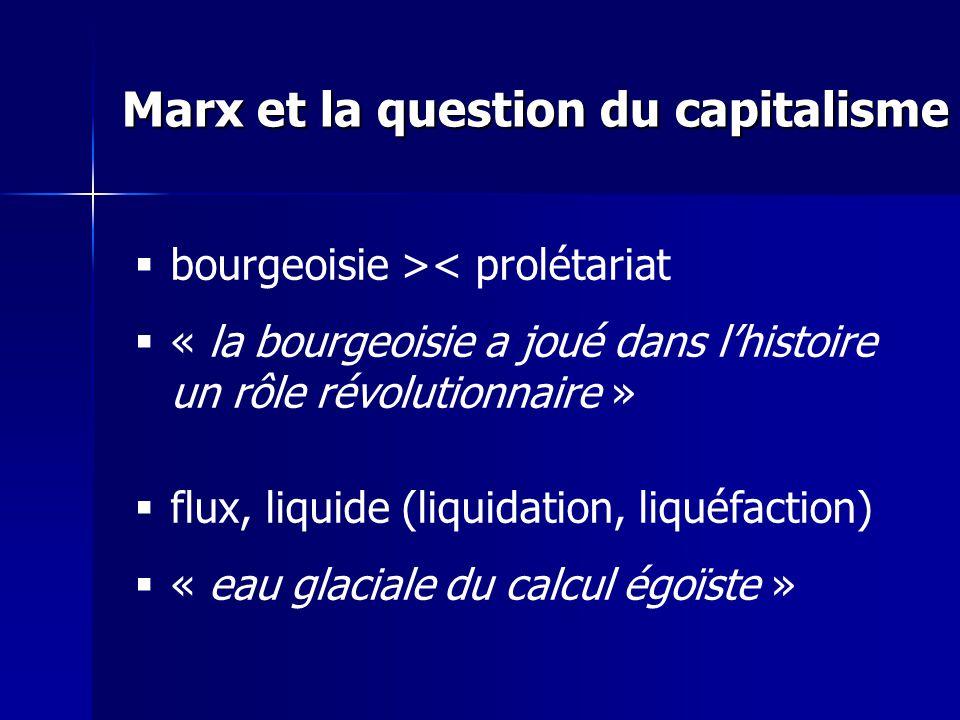bourgeoisie >< prolétariat « la bourgeoisie a joué dans lhistoire un rôle révolutionnaire » flux, liquide (liquidation, liquéfaction) « eau glaciale du calcul égoïste » Marx et la question du capitalisme