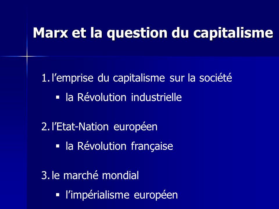 1.lemprise du capitalisme sur la société la Révolution industrielle 2.lEtat-Nation européen la Révolution française 3.le marché mondial limpérialisme européen