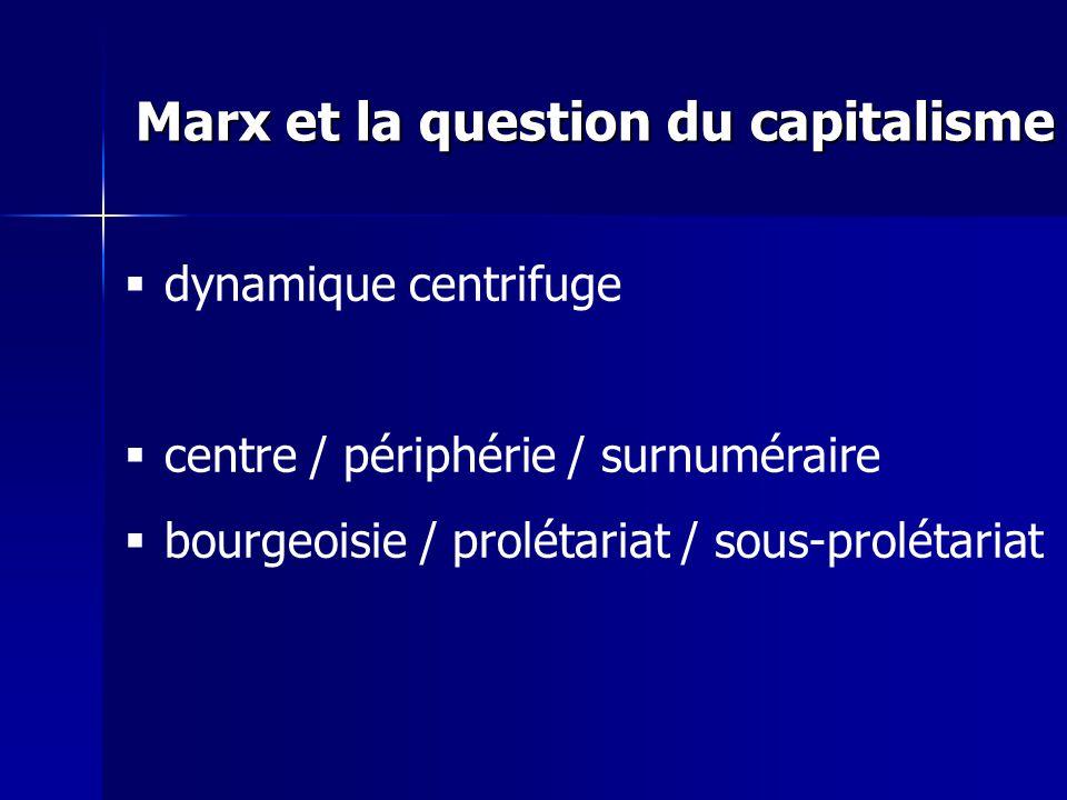 dynamique centrifuge centre / périphérie / surnuméraire bourgeoisie / prolétariat / sous-prolétariat Marx et la question du capitalisme