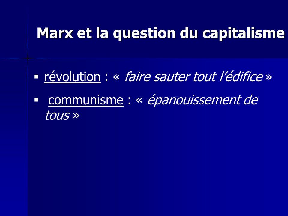 révolution : « faire sauter tout lédifice » communisme : « épanouissement de tous » Marx et la question du capitalisme