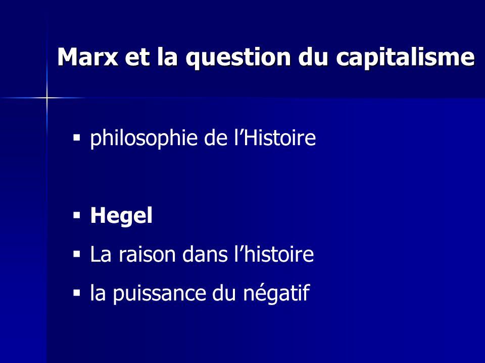 Marx et la question du capitalisme philosophie de lHistoire Hegel La raison dans lhistoire la puissance du négatif