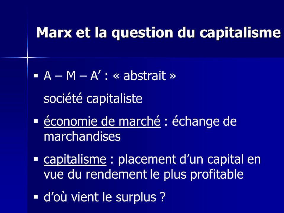 A – M – A : « abstrait » société capitaliste économie de marché : échange de marchandises capitalisme : placement dun capital en vue du rendement le plus profitable doù vient le surplus .