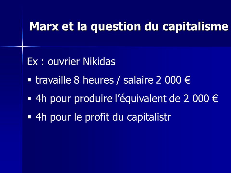 Ex : ouvrier Nikidas travaille 8 heures / salaire 2 000 4h pour produire léquivalent de 2 000 4h pour le profit du capitalistr Marx et la question du capitalisme
