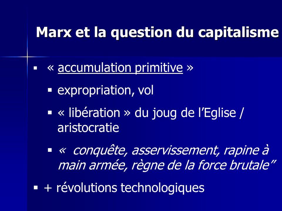 « accumulation primitive » expropriation, vol « libération » du joug de lEglise / aristocratie « conquête, asservissement, rapine à main armée, règne de la force brutale + révolutions technologiques Marx et la question du capitalisme
