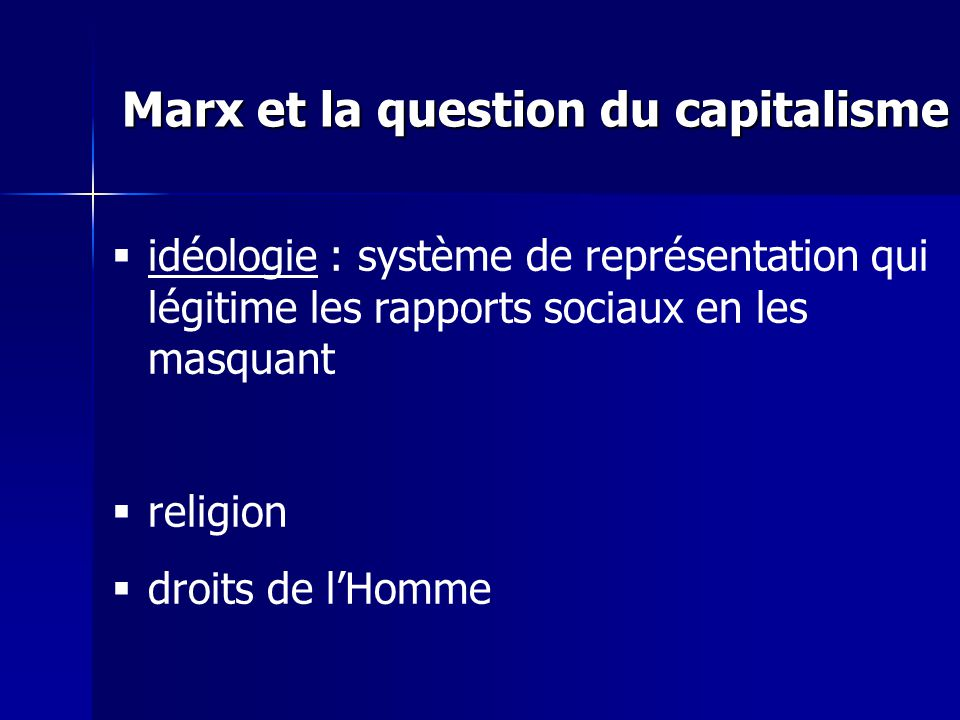 idéologie : système de représentation qui légitime les rapports sociaux en les masquant religion droits de lHomme Marx et la question du capitalisme