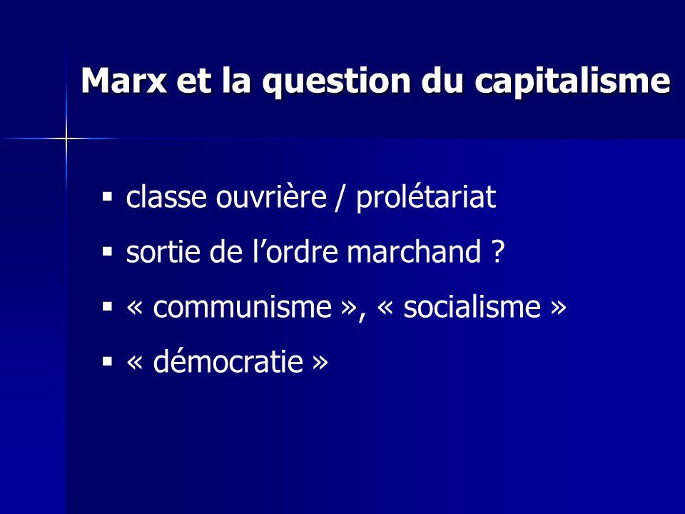 Marx et la question du capitalisme classe ouvrière / prolétariat sortie de lordre marchand .