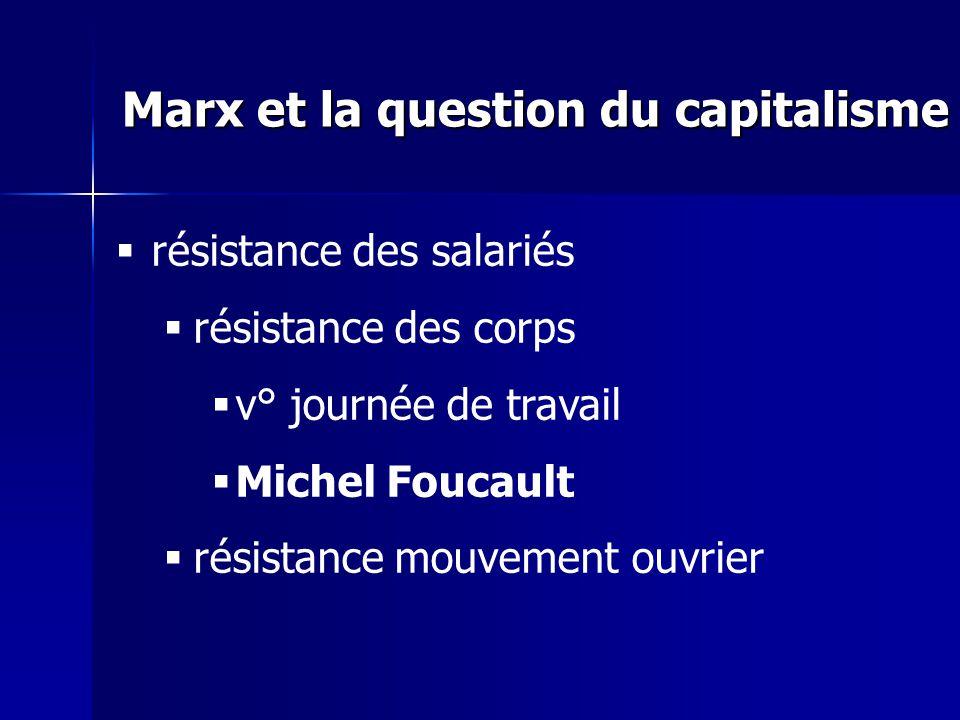 résistance des salariés résistance des corps v° journée de travail Michel Foucault résistance mouvement ouvrier Marx et la question du capitalisme