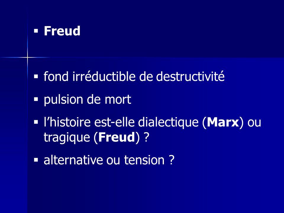 Freud fond irréductible de destructivité pulsion de mort lhistoire est-elle dialectique (Marx) ou tragique (Freud) .