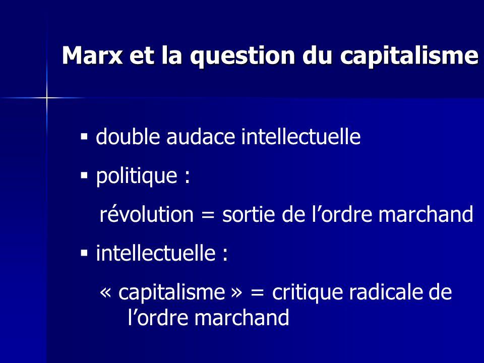 double audace intellectuelle politique : révolution = sortie de lordre marchand intellectuelle : « capitalisme » = critique radicale de lordre marchand Marx et la question du capitalisme