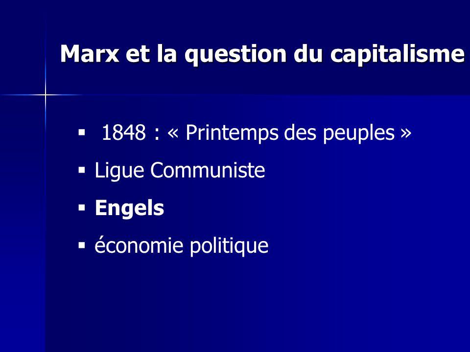 1848 : « Printemps des peuples » Ligue Communiste Engels économie politique Marx et la question du capitalisme